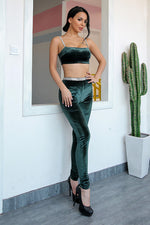 Stay Chic Green Velvet Crop Top and Trousers Co-Ord - Fashion Genie Boutique