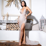 Knock Em Dead Nude Deep Plunge High Split Maxi Gown Dress - Fashion Genie Boutique