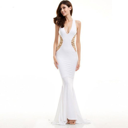 Brooklyn White Cut Out Fishtail Maxi Dress - Fashion Genie Boutique
