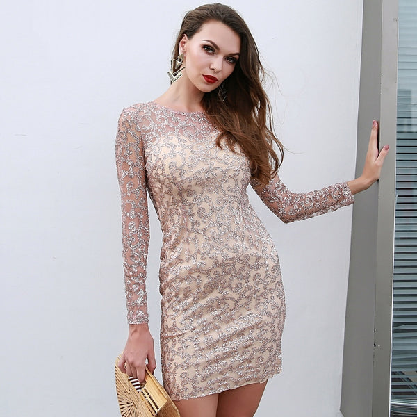 Chique Lifestyle Nude Embellished Long Sleeve Mini Dress - Fashion Genie Boutique
