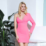 Yes Please Pink Asymmetrical Long Sleeve Mini Dress - Fashion Genie Boutique
