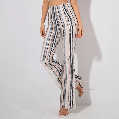 Risky Business Multi Sequin High Waisted Wide Leg Trousers - Fashion Genie Boutique