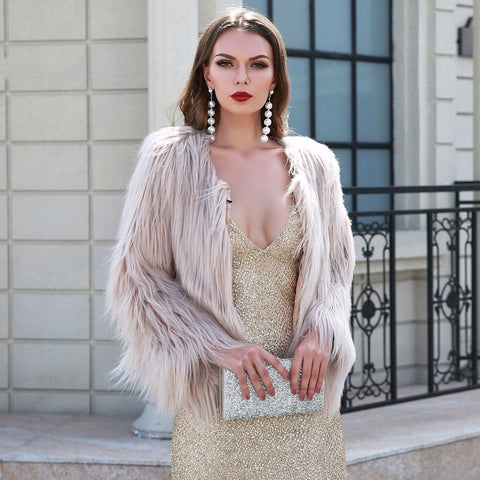 Fabulous Luxor Cream Faux Fur Jacket - Fashion Genie Boutique
