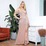 Falling Hard Rose Gold Bardot Sequin Side Split Maxi Dress Gown - Fashion Genie Boutique