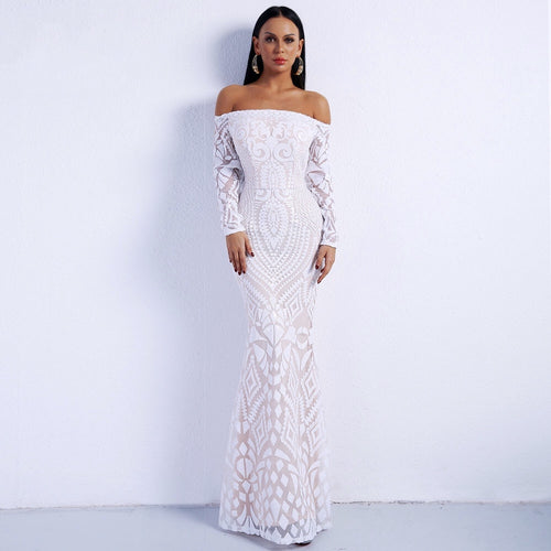802f656737 Lend A Glam White Bardot Sequin Long Sleeve Maxi Dress - Fashion Genie  Boutique