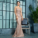 A Million Dreams Gold Glitter Embellished Maxi Fishtail Dress - Fashion Genie Boutique