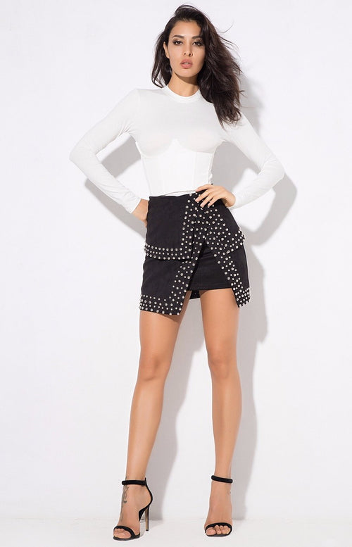 Little Minx Black Velvet Studded Asymmetrical Mini Skirt - Fashion Genie Boutique