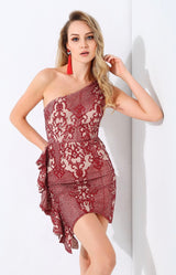 Sweeter Than Sugar Red Glitter Embellished Frill Mini Dress - Fashion Genie Boutique