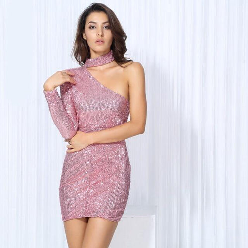 Mystique Pink Sequin One Shoulder Mini Choker Dress - Fashion Genie Boutique