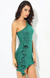 Sweeter Than Sugar Green Glitter Embellished Frill Mini Dress - Fashion Genie Boutique