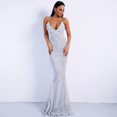 Prima Donna Silver Sequin Fishtail Maxi Dress - Fashion Genie Boutique