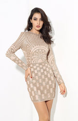 Gatsby Gold Glitter Embellished Long Sleeve Mini Dress - Fashion Genie Boutique