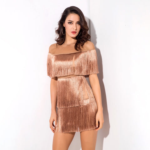 Shimmy Shake Bronze Mesh Panel Fringe Mini Dress
