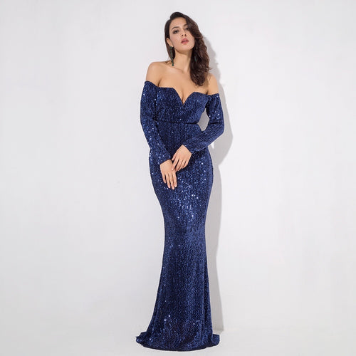 Dressed To Thrill Navy Sequin Bardot Maxi Dress - Fashion Genie Boutique