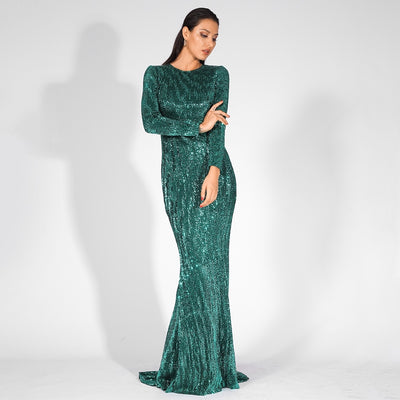 Never Enough Green Sequin Long Sleeve Sleeve Maxi Fishtail Dress - Fashion Genie Boutique