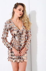 Keep them Keen Rose Gold Long Sleeve Sequin Tassel Mini Dress - Fashion Genie Boutique