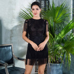 Flaunt It Black Fringe Lace Mini Dress - Fashion Genie Boutique
