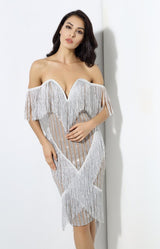Lovefool Silver Bardot Fringe Glitter Midi Dress - Fashion Genie Boutique
