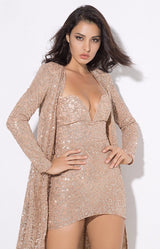 Rise & Shine Champagne Floor Length Glitter Jacket - Fashion Genie Boutique