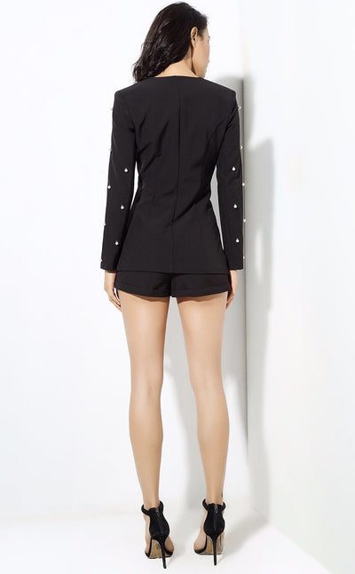 Bethany Black Pearl Shorts and Blazer Co-Ord - Fashion Genie Boutique