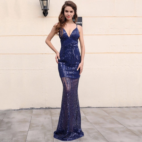 Majestic Navy Sequin Maxi Fishtail Dress - Fashion Genie Boutique