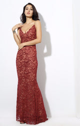 Sweet Delight Red Glitter Plunge Maxi Gown Dress - Fashion Genie Boutique