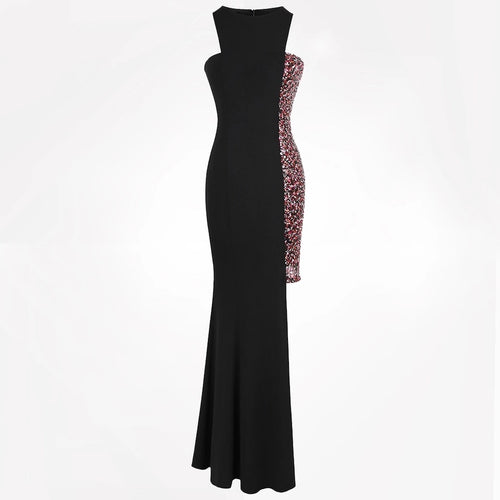 Night Of Your Life Black Asymmetrical Sequin Maxi Gown Dress - Fashion Genie Boutique