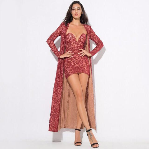 Rise & Shine Red Floor Length Sequin Jacket - Fashion Genie Boutique