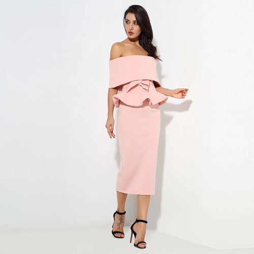 Hope Pink Peplum Bardot Top & Midi Skirt Co-Ord - Fashion Genie Boutique