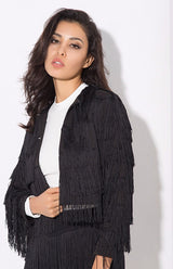 Lanchada Black Tassel Cropped Jacket - Fashion Genie Boutique