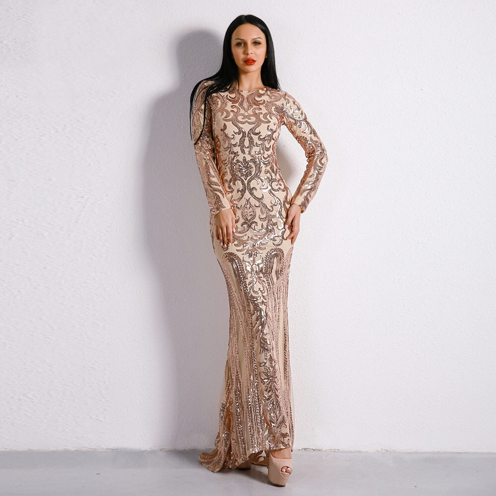Unrequited Love Rose Gold Sequin Long Sleeve Maxi Dress