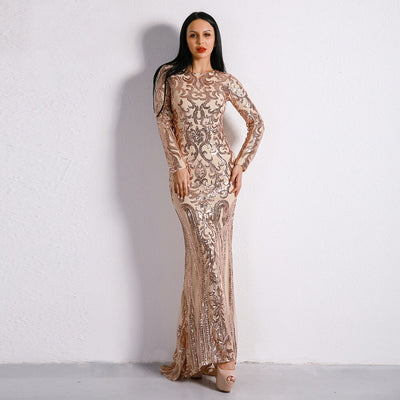 Unrequited Love Rose Gold Sequin Long Sleeve Maxi Dress - Fashion Genie Boutique