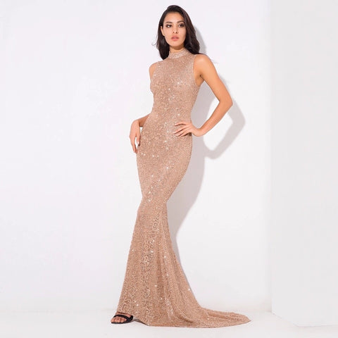 Felicia Gold Glitter Embellished Maxi Gown Dress - Fashion Genie Boutique