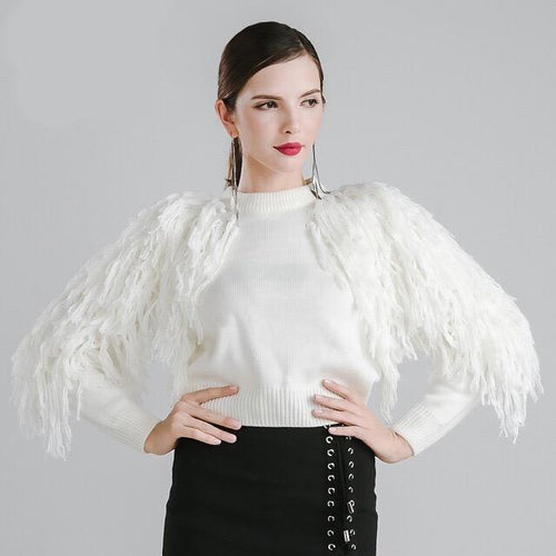 Fall in Love White Tassel Fringe Sleeved Cropped Jumper - Fashion Genie Boutique