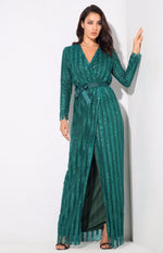 Space Between Us Green Stripe Glitter Wrap Maxi Dress - Fashion Genie Boutique