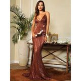 Icon Queen Brown Plunge Sequin Fishtail Dress - Fashion Genie Boutique