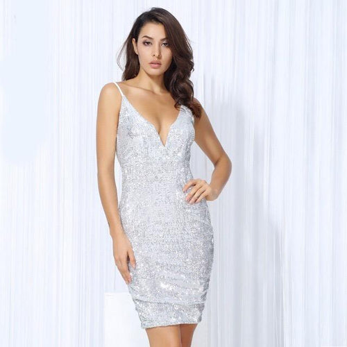 Weekend Fun Silver Sequin Mini Dress - Fashion Genie Boutique