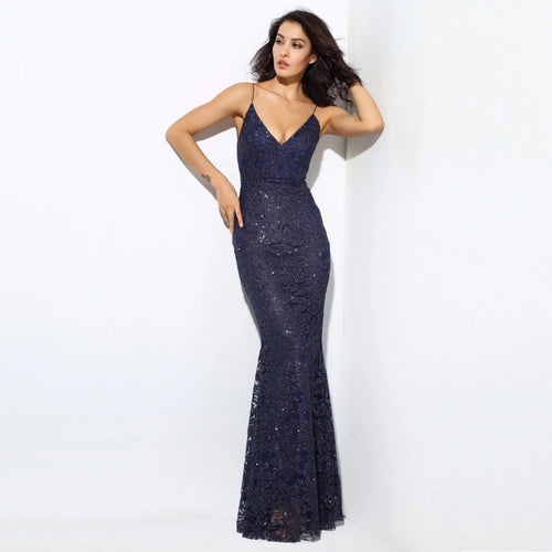Sweet Delight Navy Glitter Plunge Maxi Gown Dress - Fashion Genie Boutique