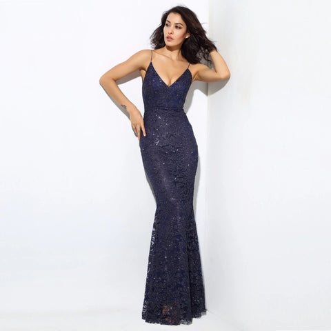 Sweet Delight Navy Sequin Plunge Maxi Gown Dress - Fashion Genie Boutique