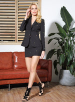 Wall Street Sinner Black Crystal Blazer & Mini Skirt Co-Ord - Fashion Genie Boutique