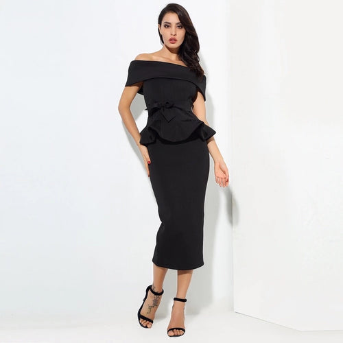 Hope Black Peplum Bardot Top & Midi Skirt Co-Ord - Fashion Genie Boutique