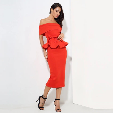 Hope Red Peplum Bardot Top & Midi Skirt Dress - Fashion Genie Boutique