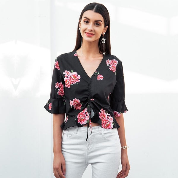 Berry Blast Black Floral Frill Top - Fashion Genie Boutique
