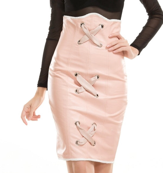 Cross Cross Pink Faux Leather High Waisted Mini Skirt - Fashion Genie Boutique