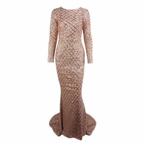 Time And Grace Gold Glitter Embellished Long Sleeve Maxi Dress - Fashion Genie Boutique