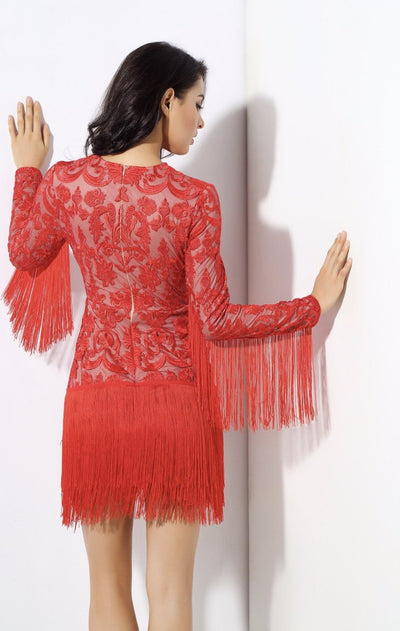 Madly Deeply Red Long Sleeve Crochet Fringe Dress - Fashion Genie Boutique