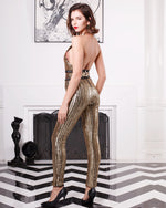 Solana Gold Halter Sequin Jumpsuit - Fashion Genie Boutique