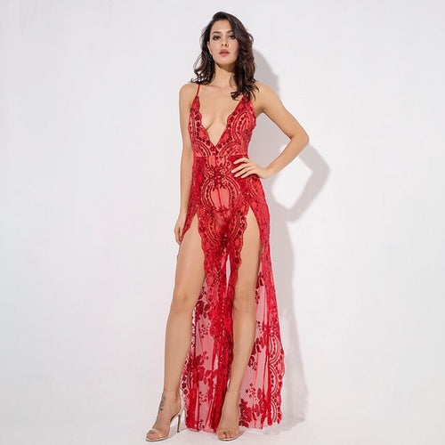 Bad Gal Red Sequin Split Leg Jumpsuit - Fashion Genie Boutique