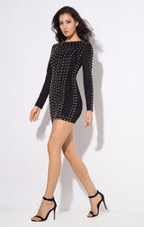 Rock Candy Black Studded Bandage Mini Dress - Fashion Genie Boutique