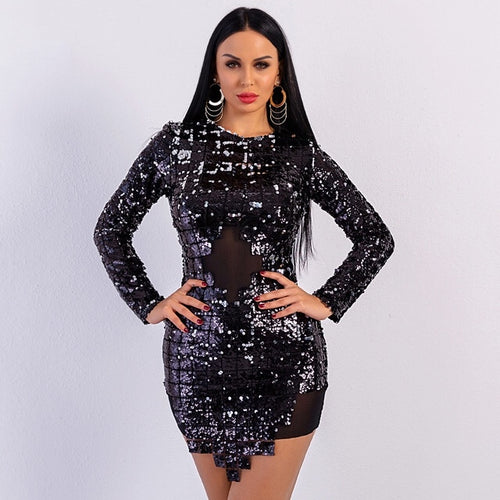 LA Night Black Sequin Long Sleeve Mini Dress - Fashion Genie Boutique
